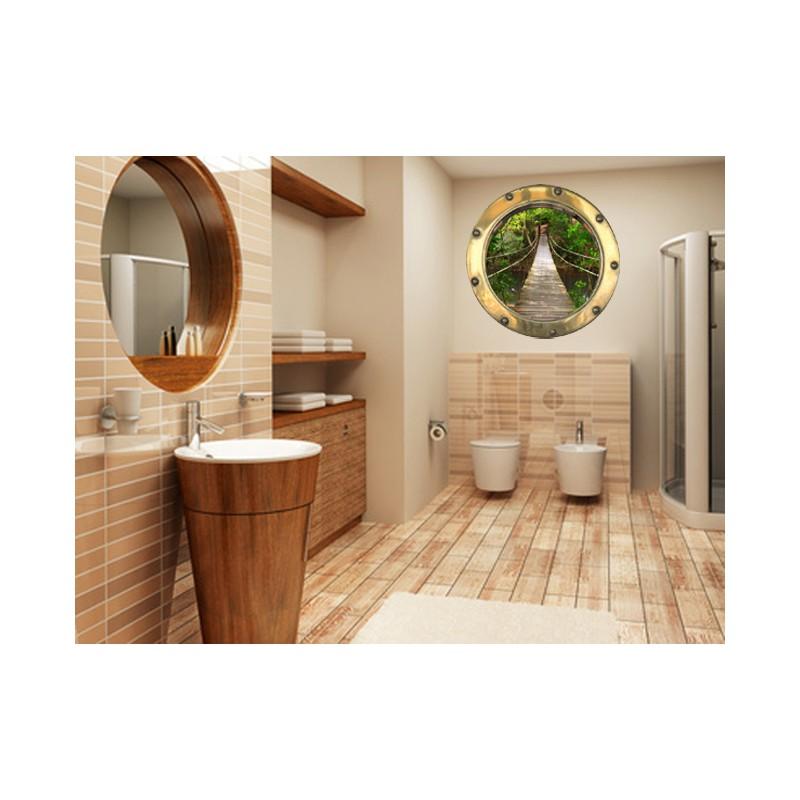 stickers trompe l 39 oeil hublot pont de bois dans la jungle tatoutex stickers. Black Bedroom Furniture Sets. Home Design Ideas