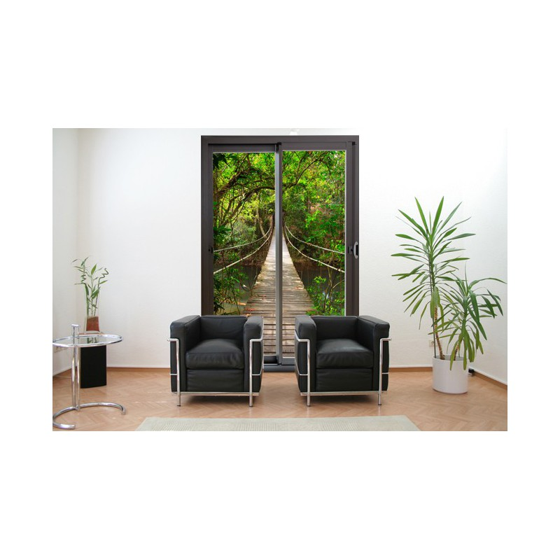 baie vitr e en trompe l 39 oeil adh sif pont de bois autocollant. Black Bedroom Furniture Sets. Home Design Ideas