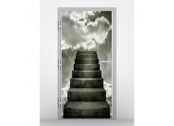 Stickers pour porte escalier dans les nuages tatoutex for Sticker decoration de porte trompe l oeil escalier
