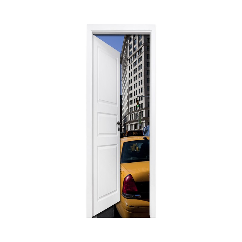 Stickers trompe l 39 oeil porte taxi de new york tatoutex stickers - Sticker porte new york ...