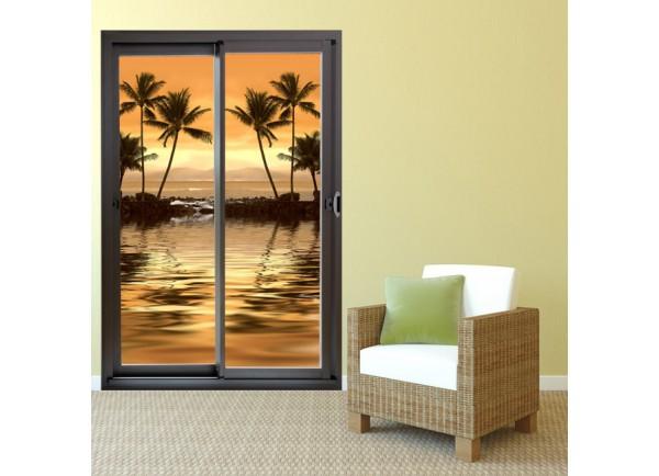 stickers de baie vitr e avec un fond de couch de soleil et palmiers. Black Bedroom Furniture Sets. Home Design Ideas