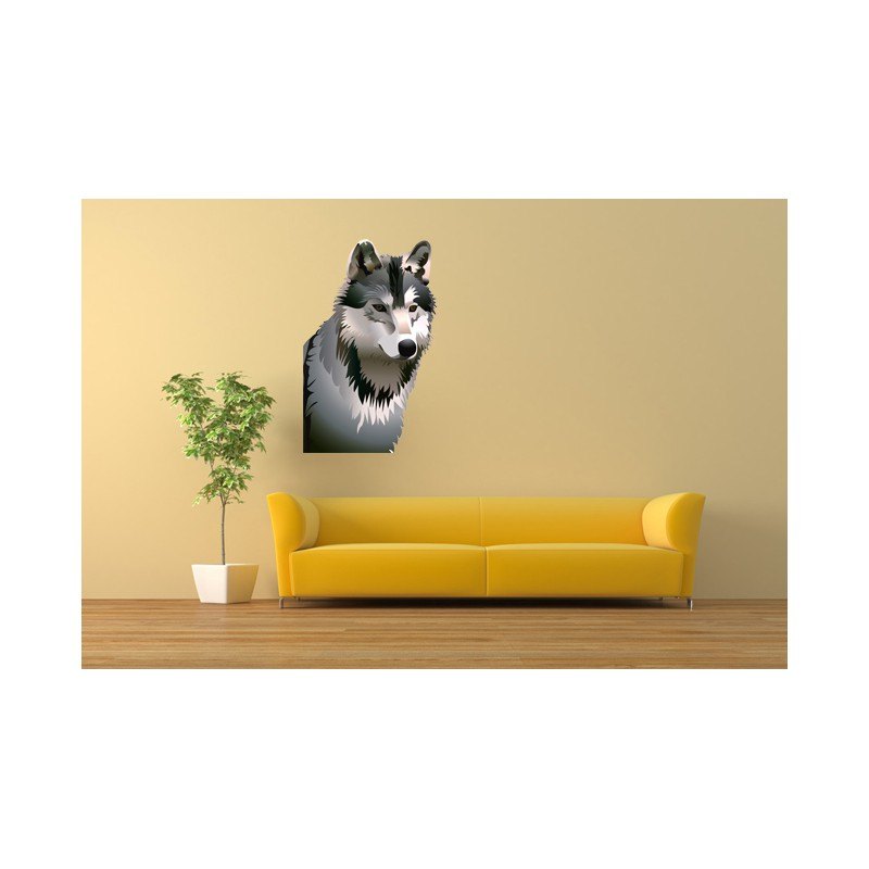 Stickers t te de loup d coration murale loup for Decoration murale loup