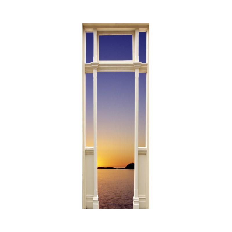 Stickers trompe l 39 oeil porte coucher de soleil sur la mer - Trompe l oeil de porte ...