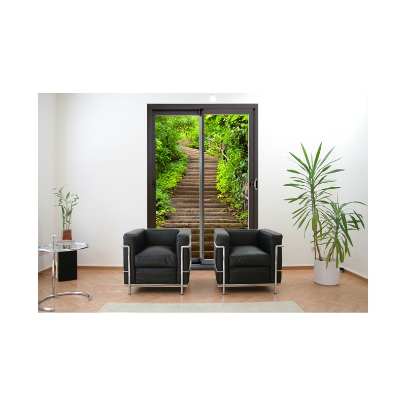 sticker d coration murale trompe l 39 oeil baie vitr e escalier. Black Bedroom Furniture Sets. Home Design Ideas
