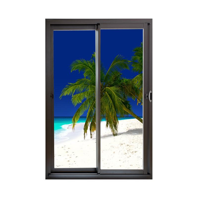 sticker de d coration murale en trompe l 39 oeil d 39 une baie. Black Bedroom Furniture Sets. Home Design Ideas