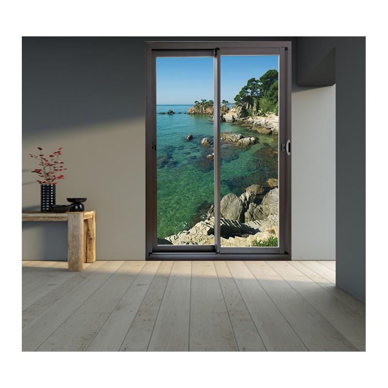 d coration murale en trompe l 39 oeil baie vitr e la cote bretonne. Black Bedroom Furniture Sets. Home Design Ideas
