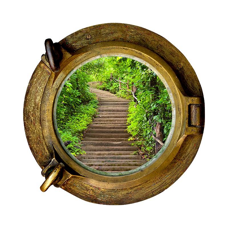Stickers trompe l 39 oeil hublot escalier dans la nature - Stickers trompe l oeil escalier ...