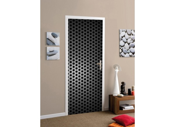 stickers de porte d coration murale de porte effet metallique. Black Bedroom Furniture Sets. Home Design Ideas