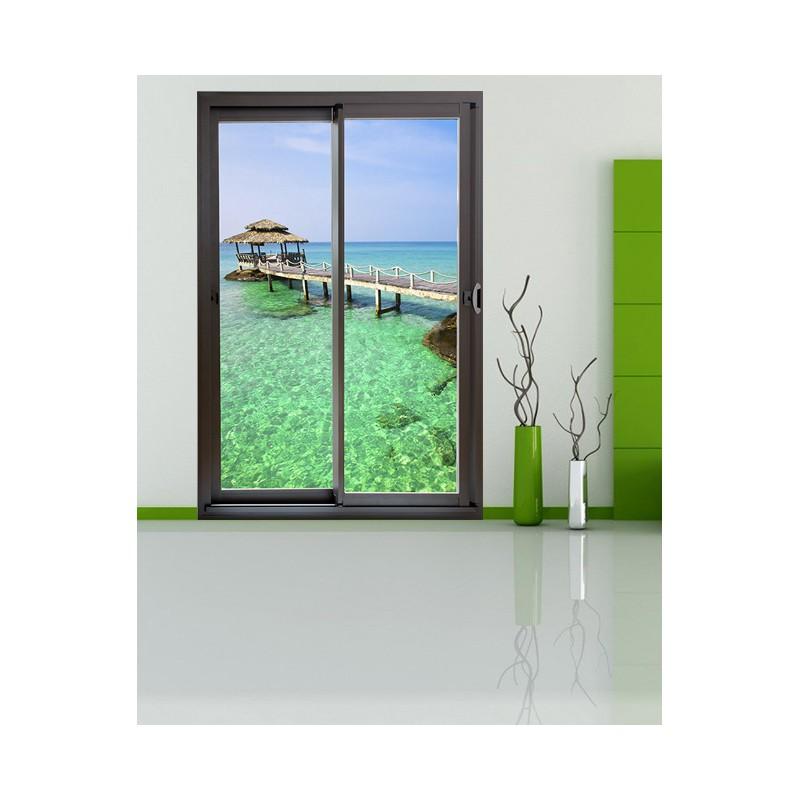 stickers trompe l 39 oeil d co maison baie vitr e d coration murale. Black Bedroom Furniture Sets. Home Design Ideas