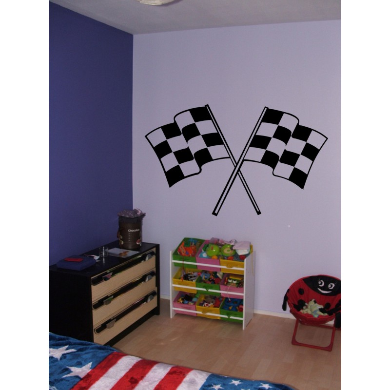 stickers drapeau a damier autocollant drapeau stickers courses. Black Bedroom Furniture Sets. Home Design Ideas