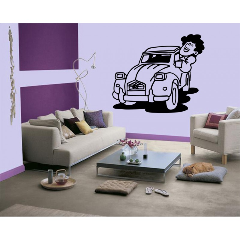 stickers voiture 2 cv  d u00e9coration citroen 2cv  autocollant