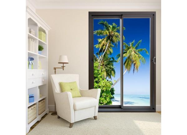 Stickers trompe l'oeil baie vitrée plage des tropiques