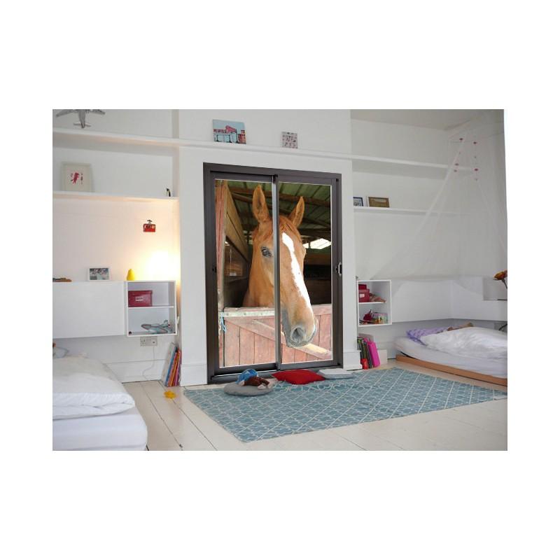 trompe l 39 oeil adh sif cheval au box et baie vitr e. Black Bedroom Furniture Sets. Home Design Ideas