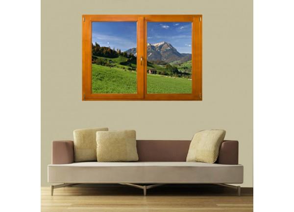 Stickers trompe l'oeil fenêtre La montagne