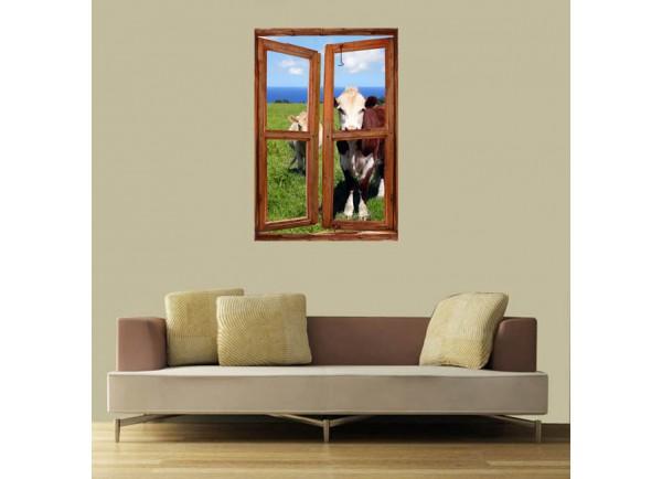 Stickers trompe l'oeil fenêtre vaches