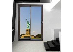 Stickers trompe l'oeil baie vitrée Statue de la liberté