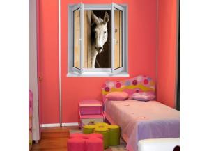 Stickers trompe l'oeil fenêtre L'âne