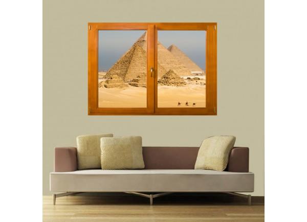 Stickers trompe l'oeil fenêtre pyramides d'Egypte