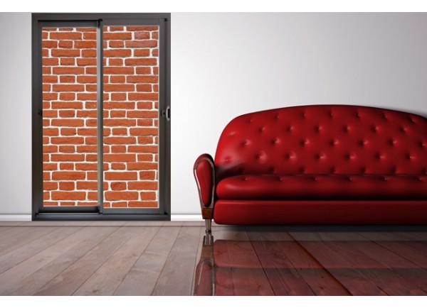 Stickers trompe l'oeil baie vitrée mur de brique