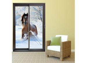 Stickers trompe l'oeil baie vitrée Cheval dans la neige