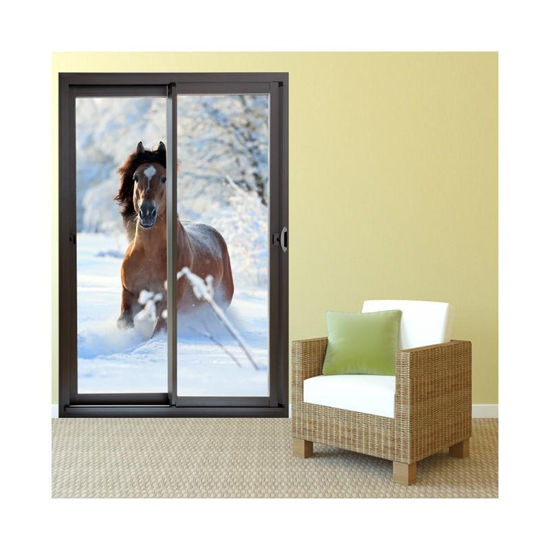 autocollant baie vitr e et cheval d co maison baie vitr e. Black Bedroom Furniture Sets. Home Design Ideas