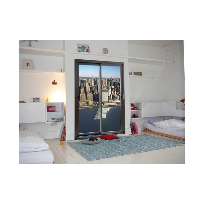 stickers new york trompe l 39 oeil autocollant baie vitr e et new york. Black Bedroom Furniture Sets. Home Design Ideas