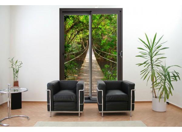 Stickers trompe l'oeil baie vitrée pont de bois dans la jungle