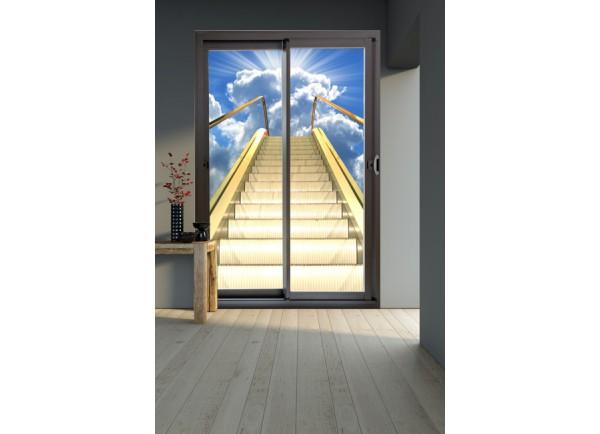 Stickers trompe l'oeil baie vitrée escalator