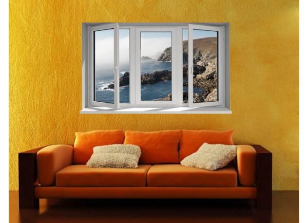 Stickers trompe l'oeil fenêtre la côte rocheuse