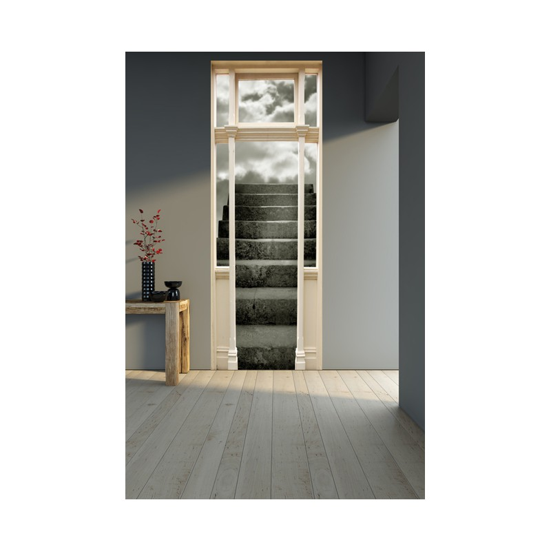 stickers trompe l 39 oeil porte escalier dans les nuages. Black Bedroom Furniture Sets. Home Design Ideas