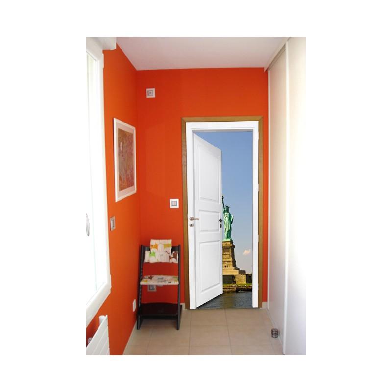 Stickers trompe l 39 oeil porte statue de la libert - Trompe l oeil de porte ...