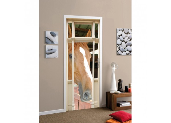 Stickers trompe l'oeil tête de cheval