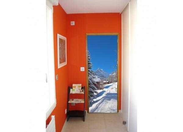 Stickers trompe l'oeil porte La montagne sous la neige
