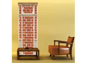 Stickers trompe l'oeil porte Mur de brique