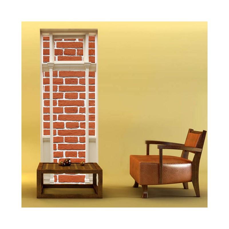 stickers trompe l 39 oeil porte mur de brique tatoutex stickers. Black Bedroom Furniture Sets. Home Design Ideas