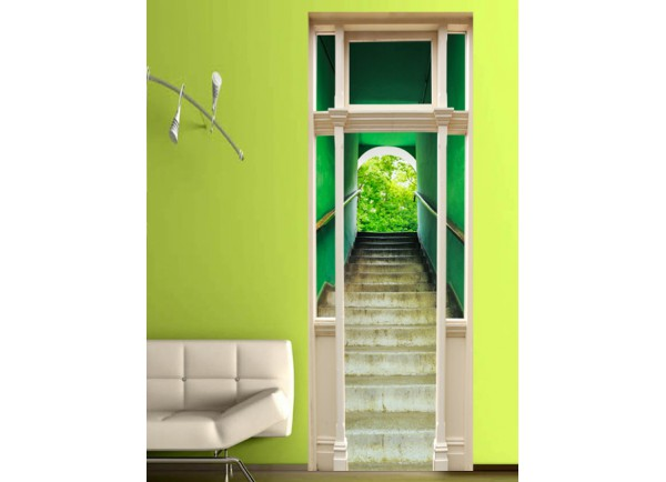 Stickers trompe l\'oeil porte Escalier vert - Tatoutex-Stickers