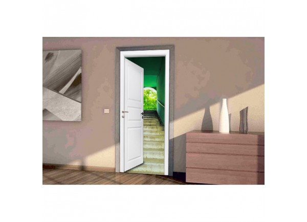 Stickers trompe l'oeil Escalier vert
