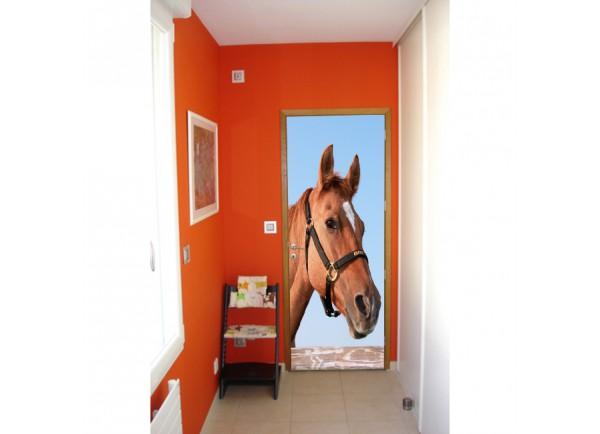 Stickers trompe l'oeil porte Portrait de cheval