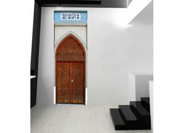 Stickers pour porte trompe l 39 oeil porte marocaine for Sticker porte orientale