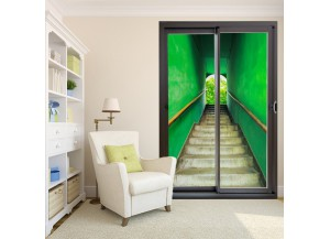 Stickers trompe l'oeil baie vitrée Escalier vert
