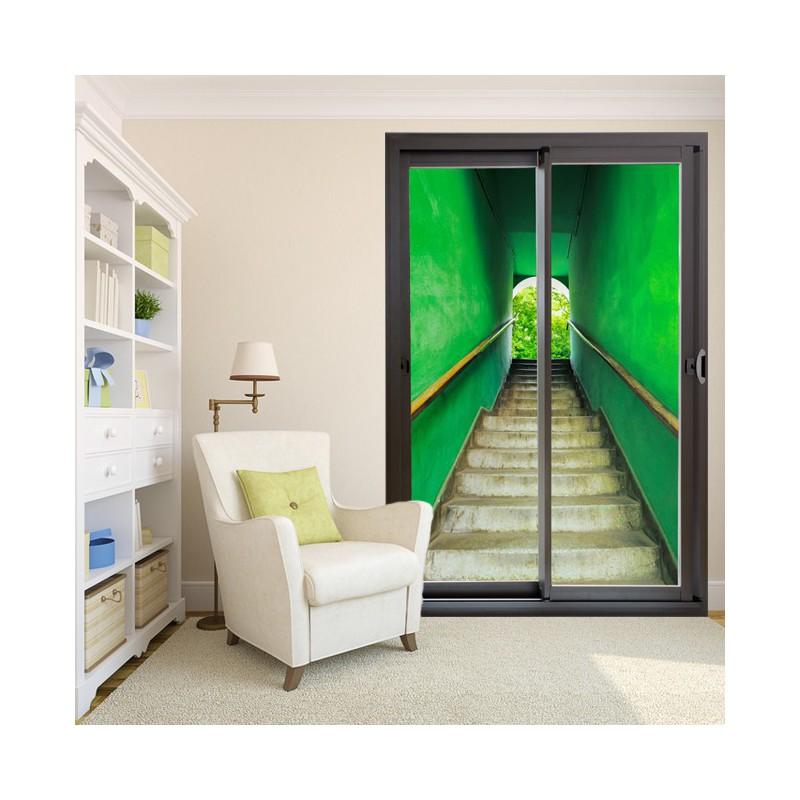 d coration murale en trompe l 39 oeil avec un escalier vert. Black Bedroom Furniture Sets. Home Design Ideas