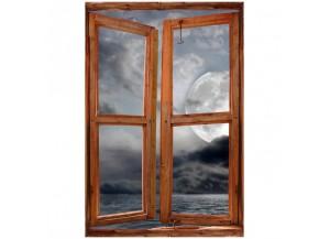 Stickers trompe l'oeil fenêtre la lune