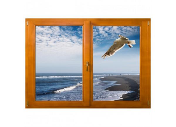 Stickers trompe l'oeil fenêtre mer et mouette