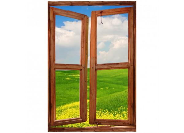 Stickers trompe l'oeil fenêtre les champs