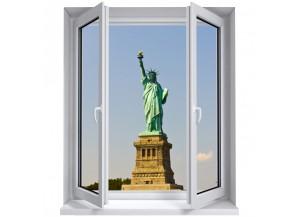 Stickers trompe l'oeil fenêtre Statue de la Liberté