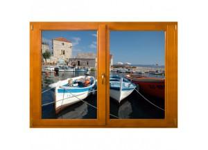 Stickers trompe l'oeil fenêtre Petit port de pêche
