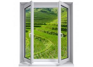 Stickers trompe l'oeil fenêtre Les rizières