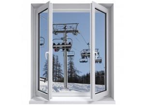 Stickers trompe l'oeil fenêtre Piste de ski