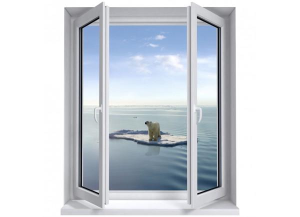 Stickers trompe l'oeil fenêtre L'ours polaire