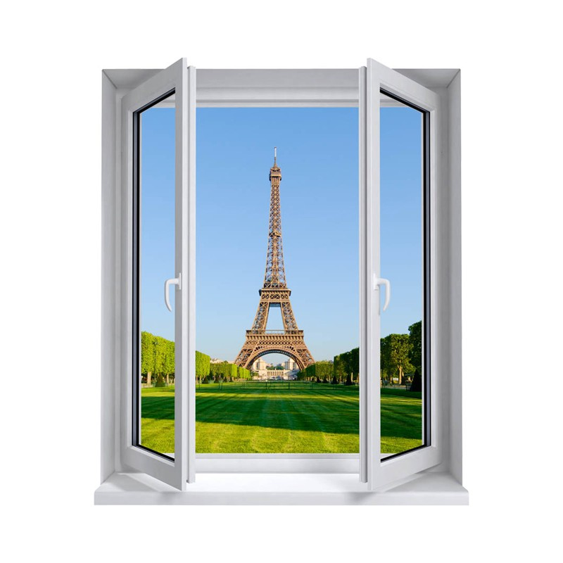 stickers trompe l 39 oeil fen tre la tour eiffel tatoutex stickers. Black Bedroom Furniture Sets. Home Design Ideas